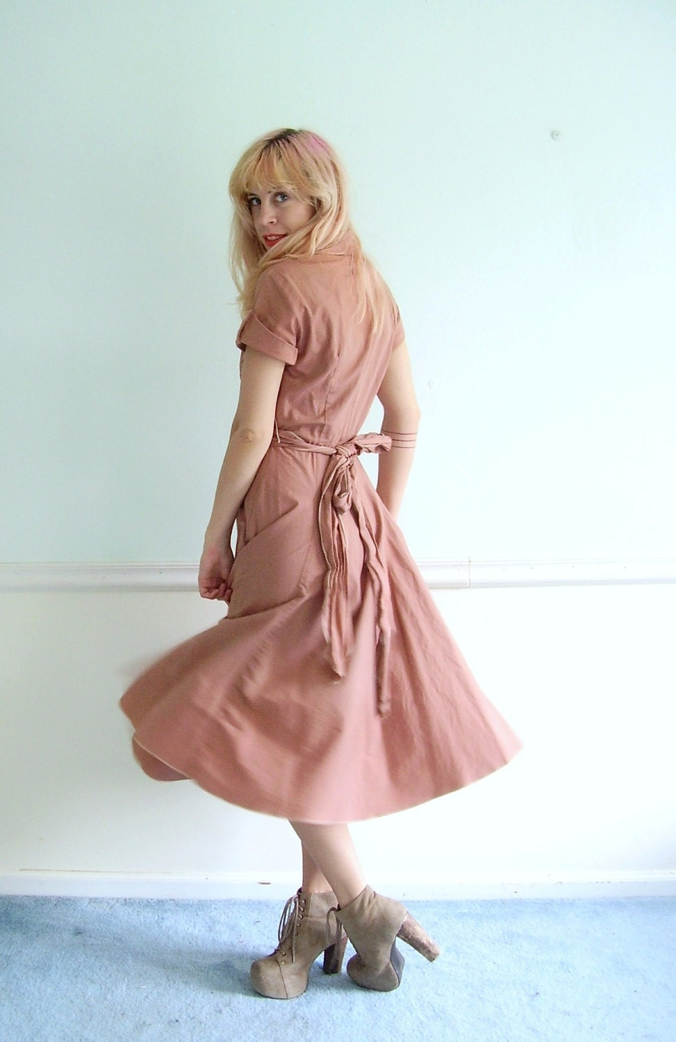 Dusty Rose Pink Vintae 50s SS Mid Calf Tieback Day Dress SMALL S - VonlenskaVintage