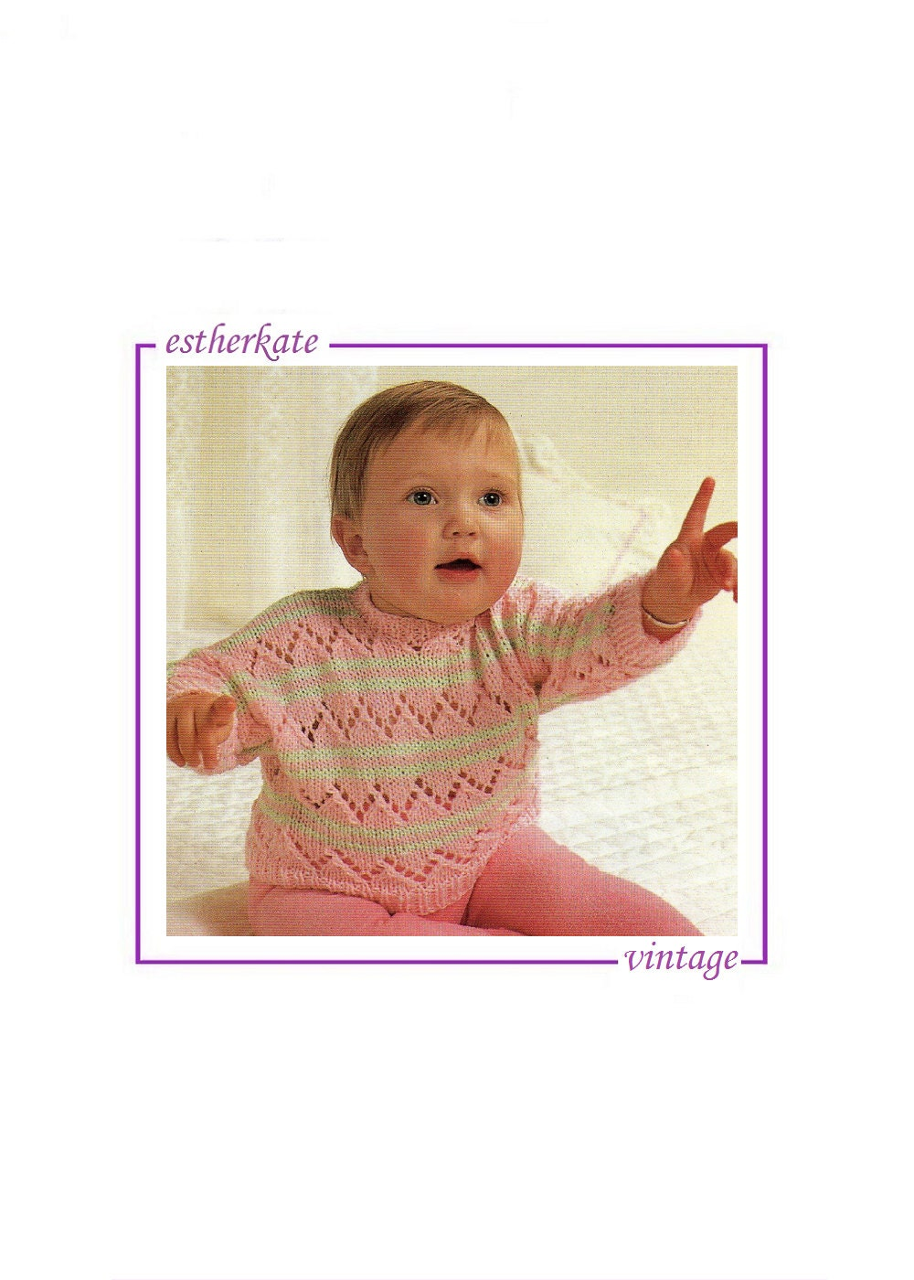 VINTAGE machine knitting pattern pdf lace sweater for baby 18  22 inch chest INSTANT DOWNLOAD