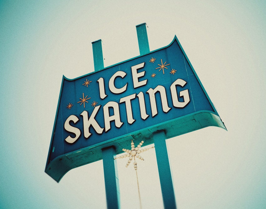 Vintage Ice Skating Rink Los Angeles Sign By RetroRoadsidePhoto