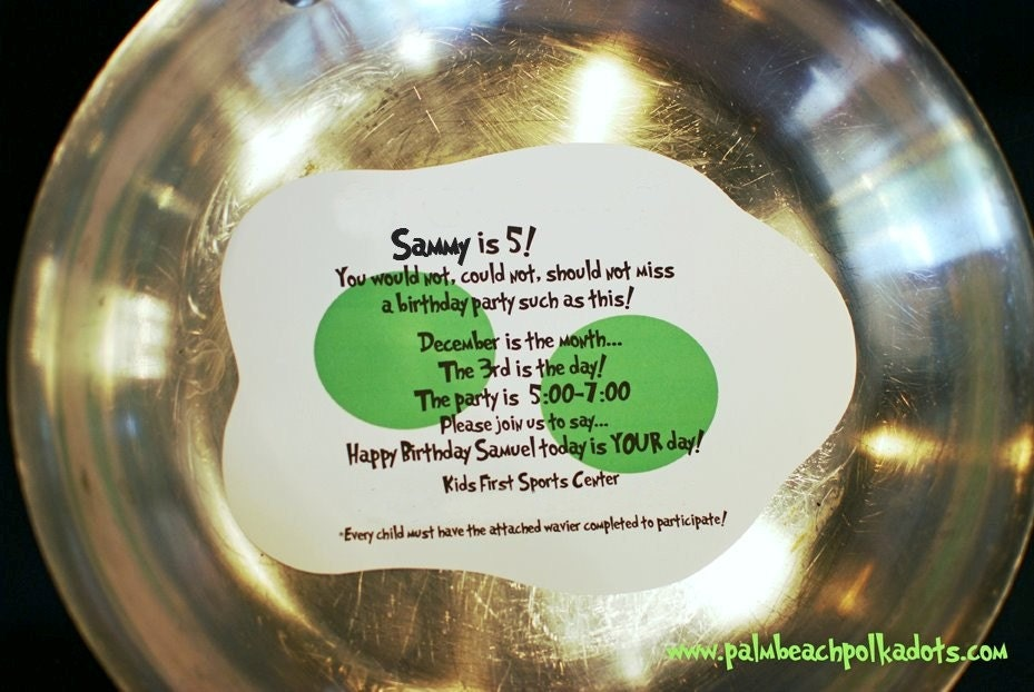 DR. SEUSS Green Eggs and Ham Baby Shower or Birthday Party Invitation ...