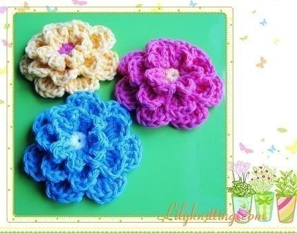 Free Crochet Pattern Three Layer Flower : PATTERN in PDF crocheted flower applique 3 layers by ...