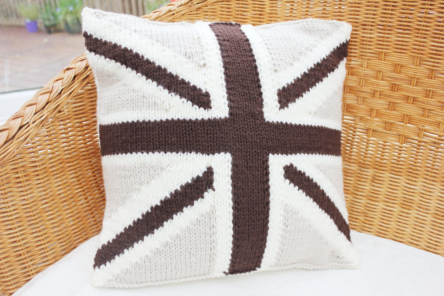 Knitting Pattern Union Jack Cushion Cover : knitted union jack cushion cover knitted cream by WoollyBudgie