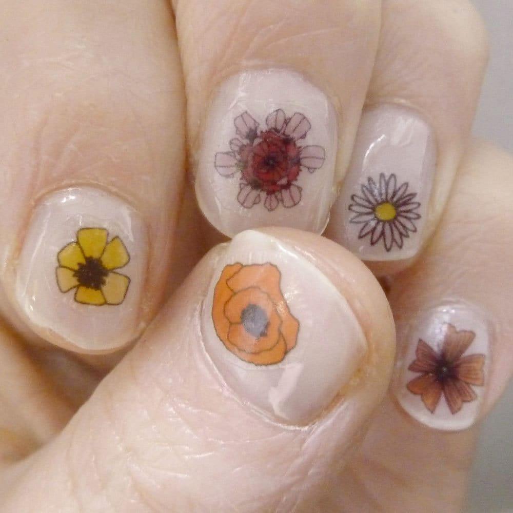 wild flower nail transfers