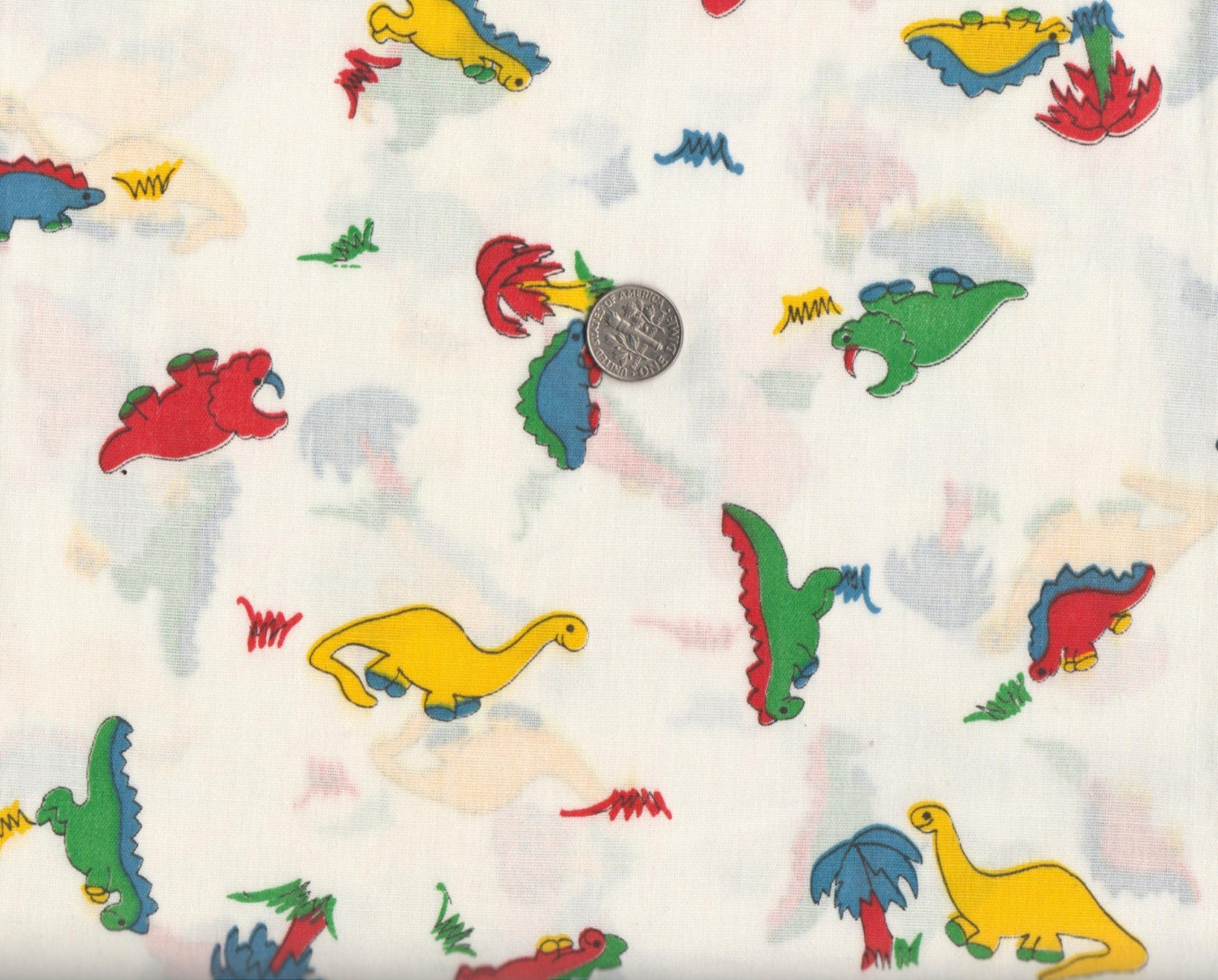 Vintage baby dinosaur fabric 100 cotton by fatquarterfriendly for Baby dinosaur fabric