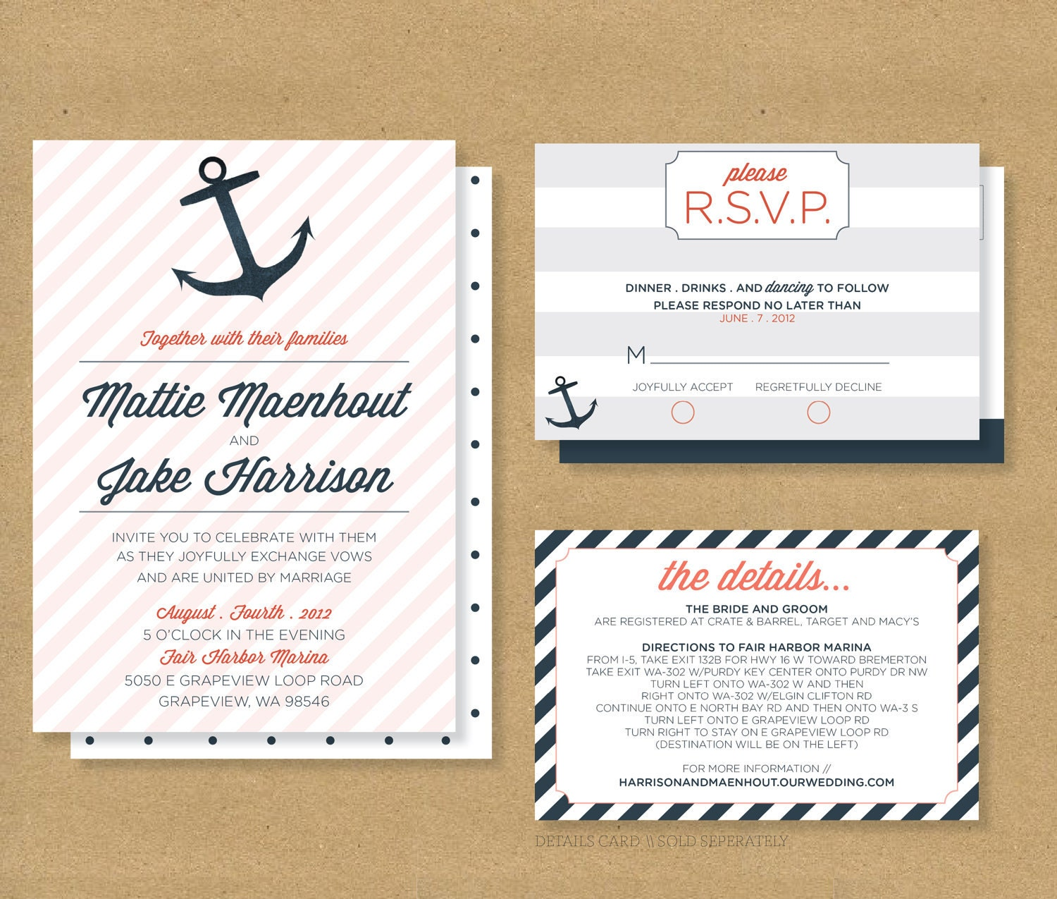 Nautical Anchors Wedding Invite Invitation And Rsvp By
