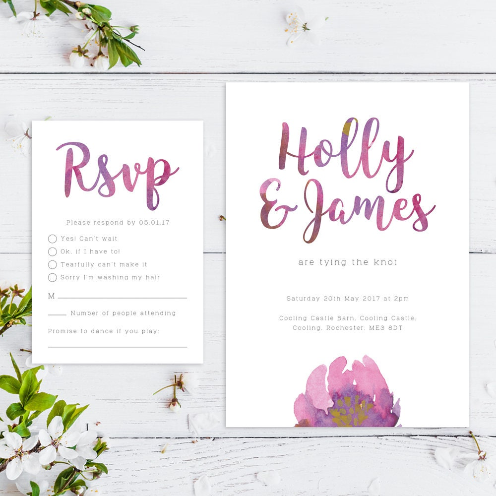 Printable Wedding Invitation RSVP Save the date Thankyou card PDF Download Custom Watercolour Floral Holly suite 009