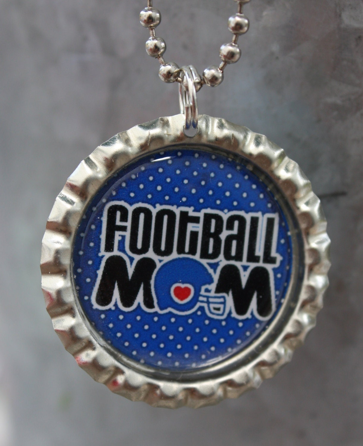 Football Mom Bottle Cap Pendant with Chain