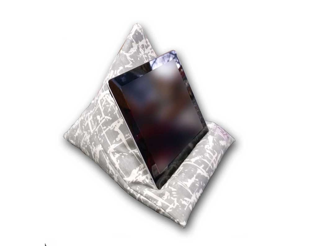 iPad Pillow Tablet Stand Grey White Abstract Tech Perch Kindle cushion ereader stand Samsung Tab Holder Gift For Him Present Dad Uncle
