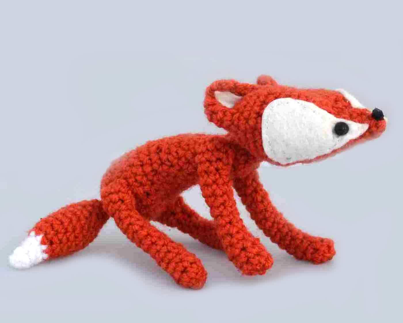 fox amigurumi plush woodland stuffed animal red white crochet art doll mini baby fox ready to ship