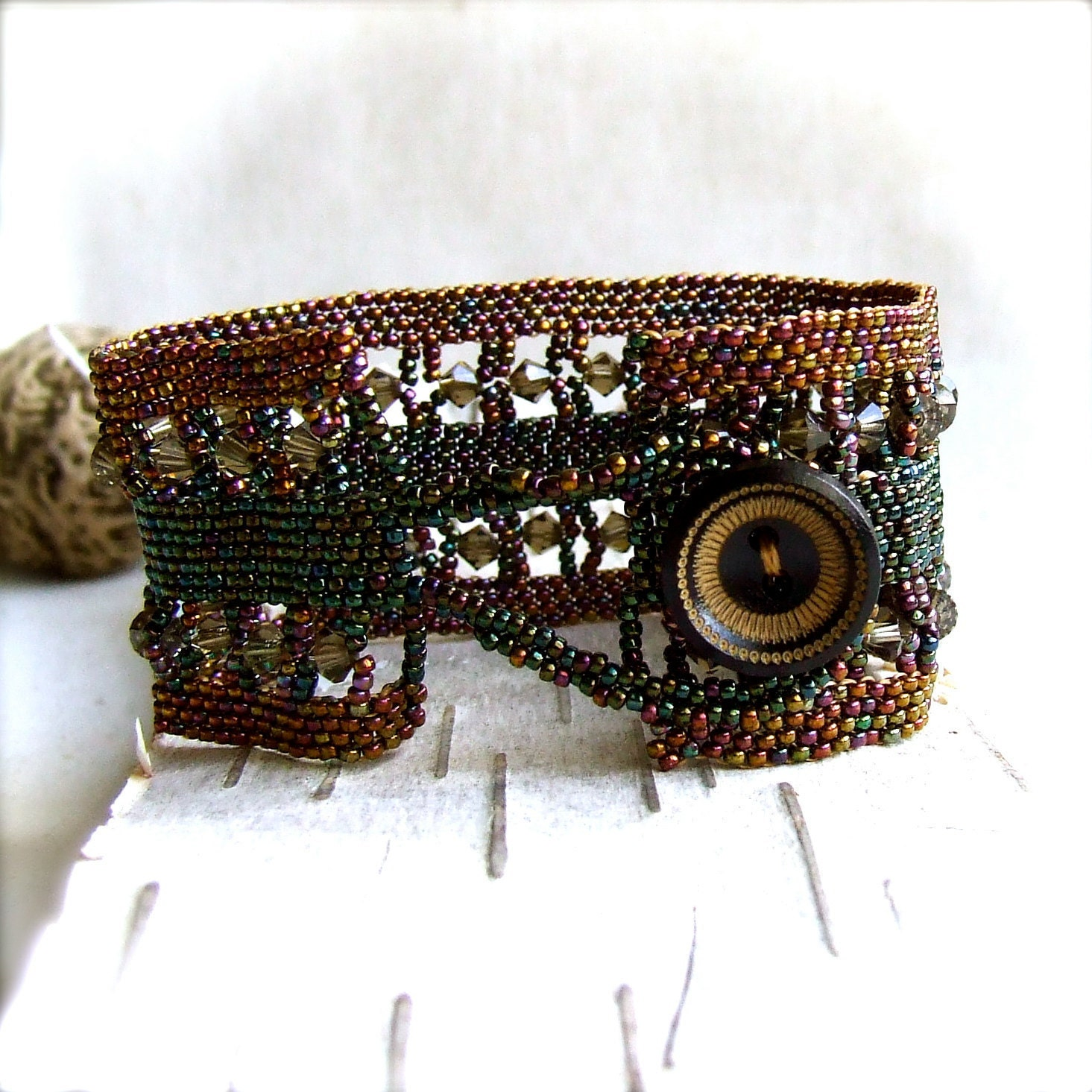 Wood, Glass Seed Beaded - Beadwoven Statement Bracelet -Tapestry - Beadwoven Jewelry - Handmade Fashion - balanced