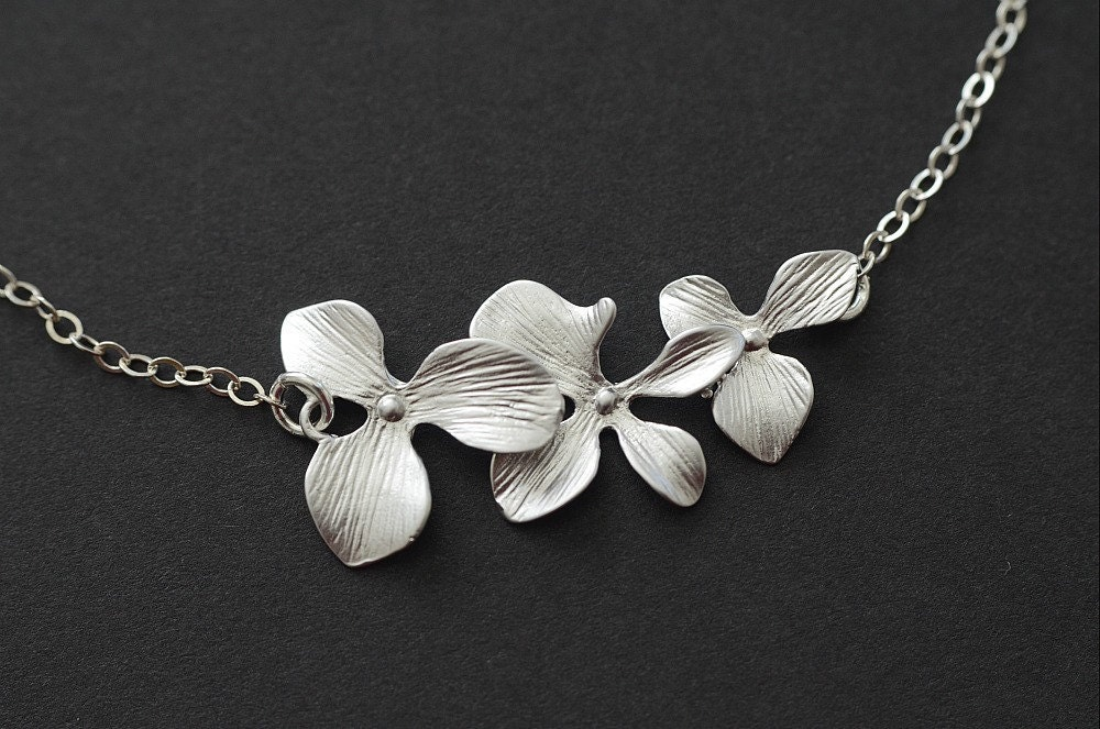 Trio Orchid Flower Necklace, Bridal Wedding Jewelry, Birthday, Bridesmaid Gift - CrinaDesign73