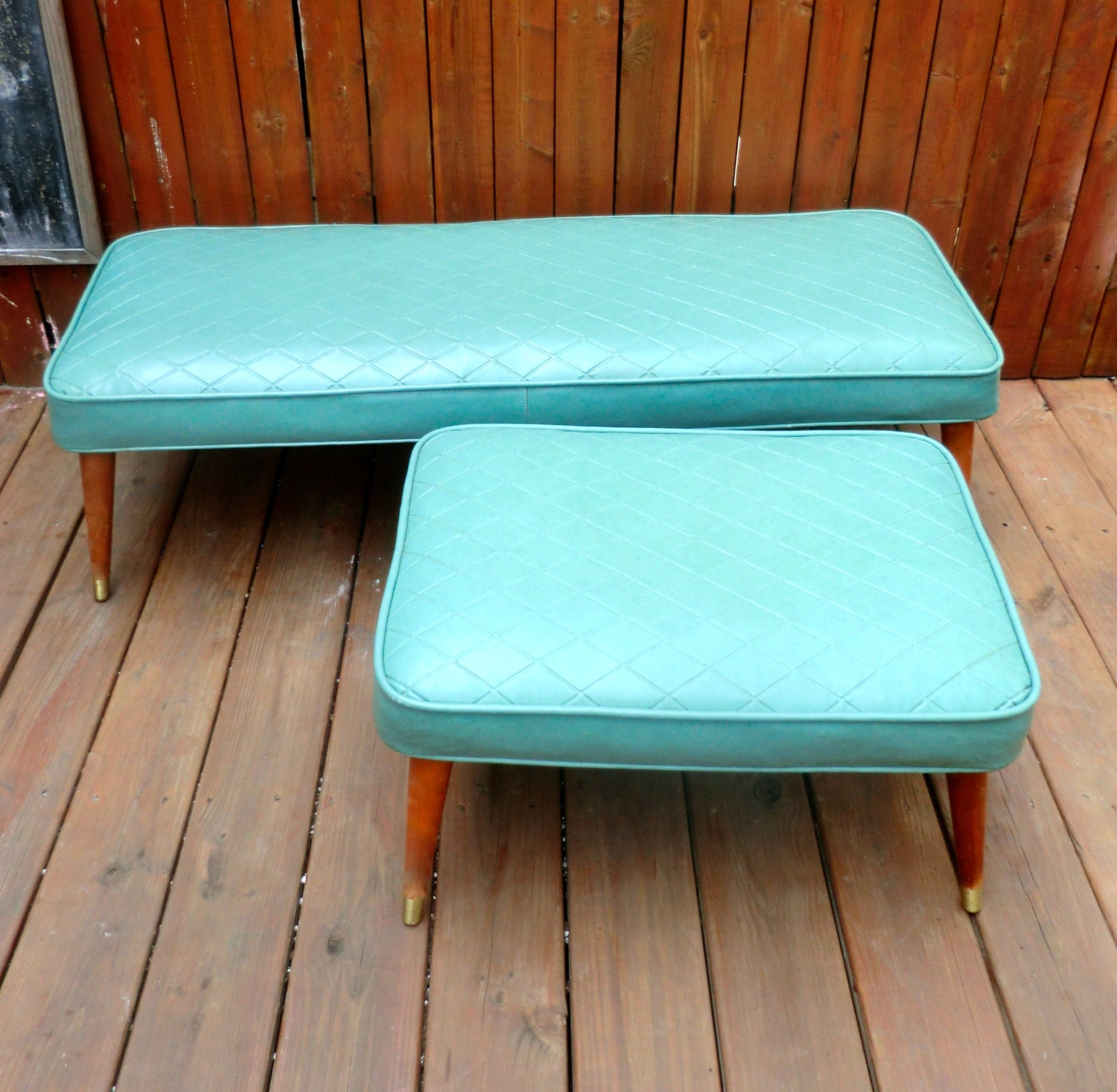 Mid Century Matching Bench and Ottoman footstools