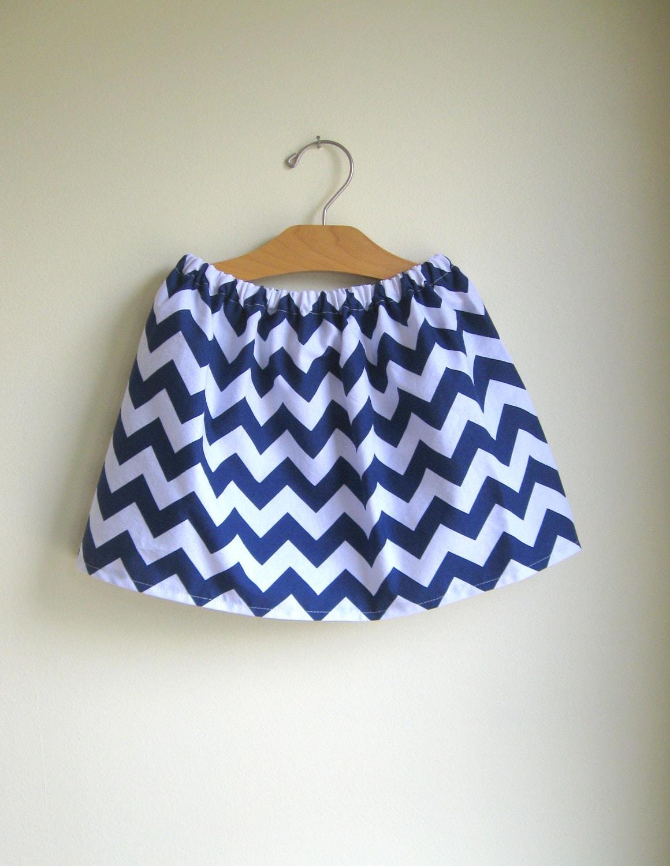 chevron skirt - navy and white - for baby toddler girl - handmade modern clothing by noah and lilah - noahandlilah