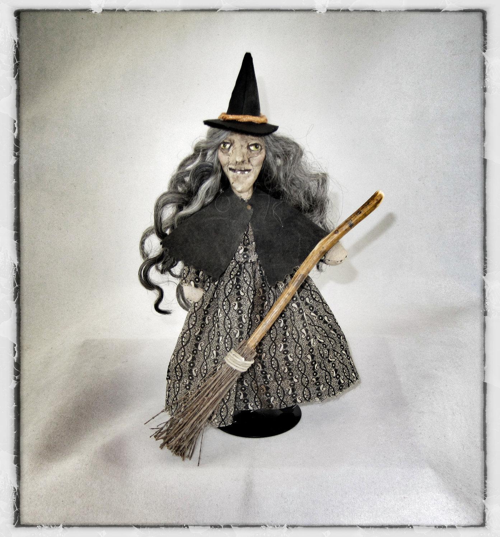 "OOAK Halloween Witch Folk art doll mini 6 3/4"" dollhouse antique black grey broom cape - AnabooCreations"