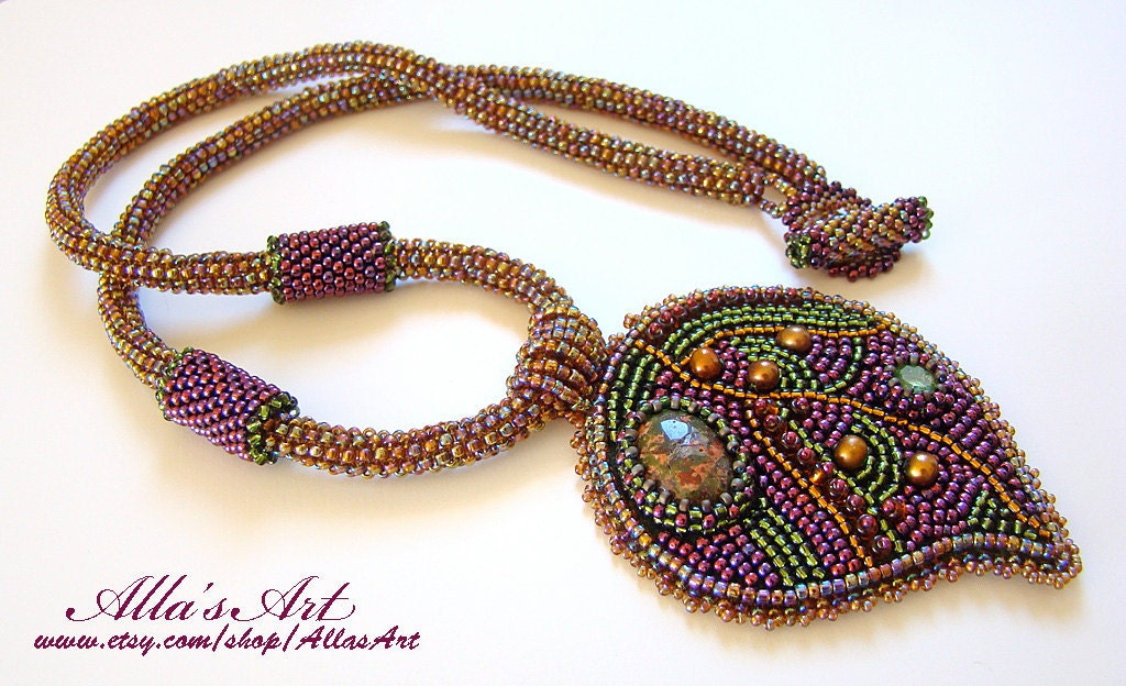 Embroidered leaf seed bead necklace by allasart on etsy