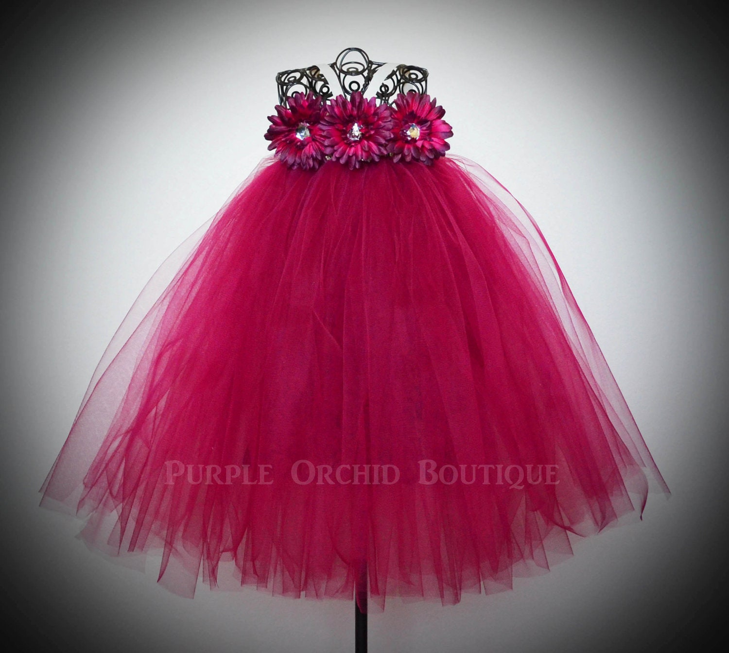 Flower Girl Tutu Dress in Wine by PurpleOrchidBoutique on Etsy