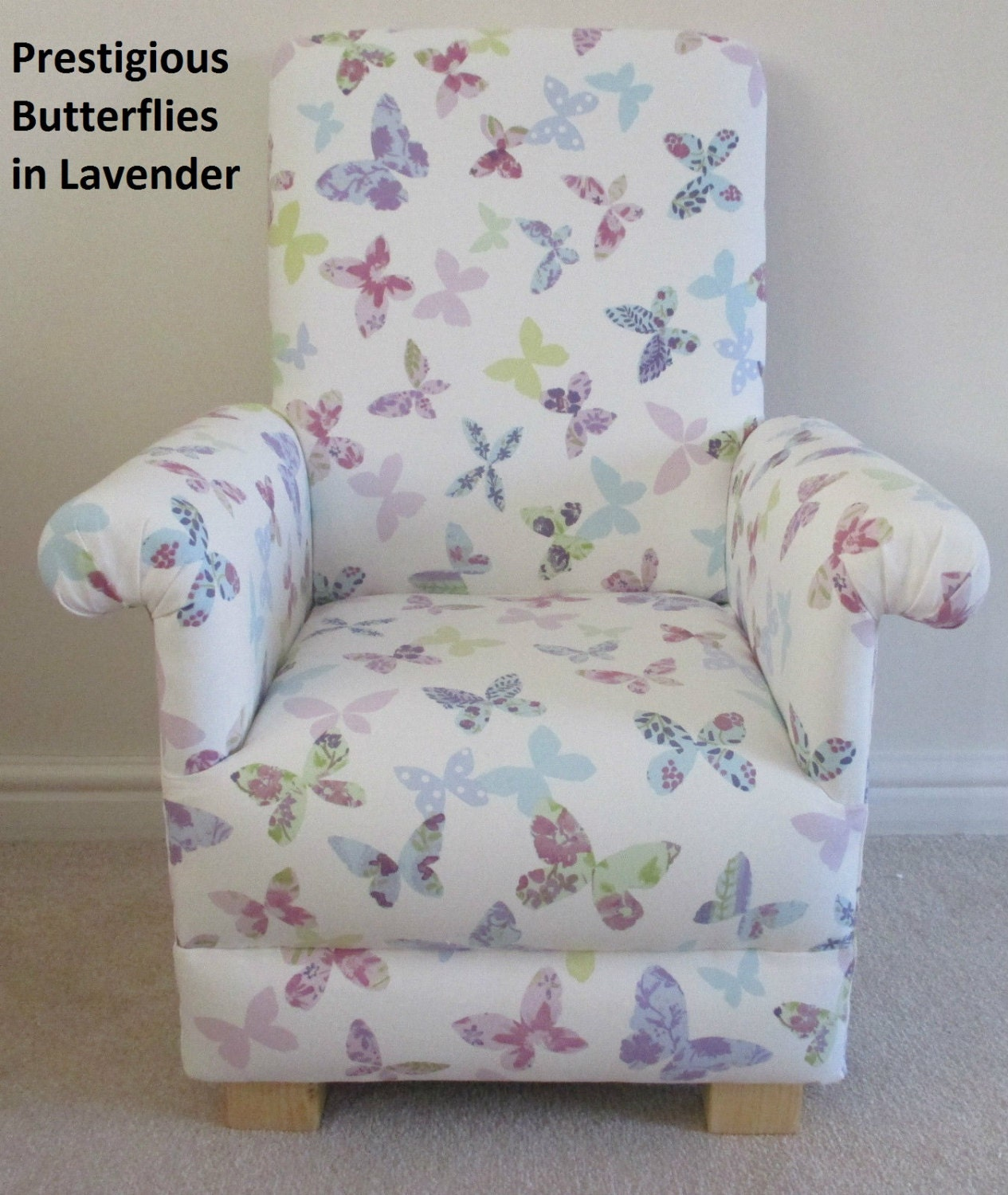 Prestigious Butterflies Fabric Childs Chair Nursery Bedroom Butterfly Lavender Chintz Vintage Pink Bespoke