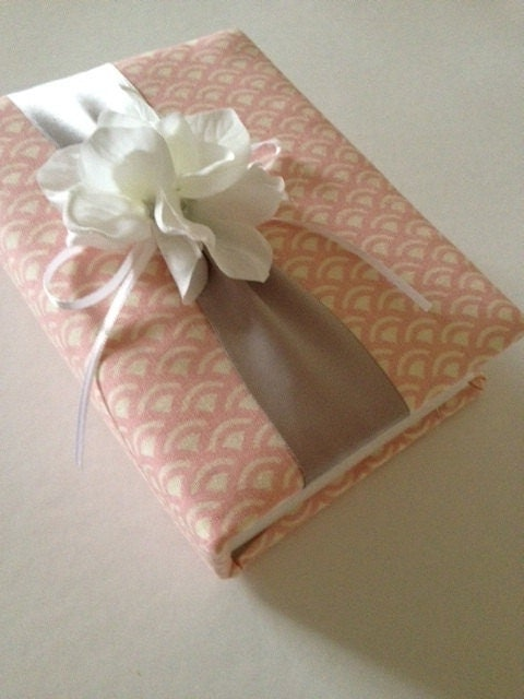 Pink and Gray Wedding Photo Album White Hydrangeas Scalloped Handmade
