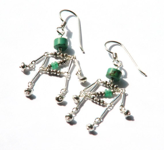 geeky robot dangle earrings turquoise emerald by