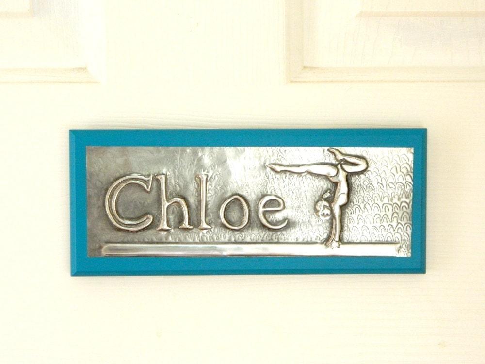bedroom door sign gymnasts personalised door plaque by loutul