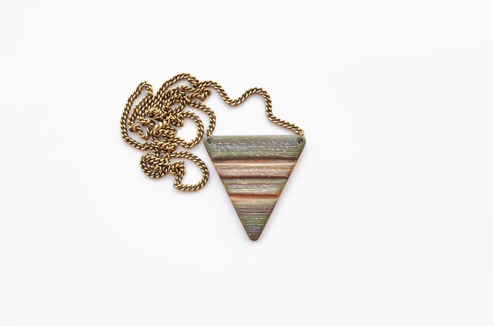 Geometric triangle statement necklace - striped, polymer clay, tribal, colorful, country - Geometric jewelry - JustBetter