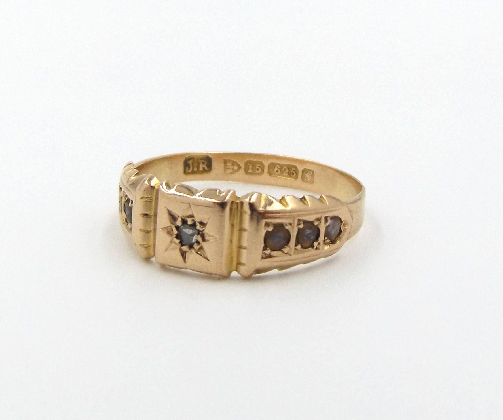 Antique 15ct Gold Diamond  Pearl Ring  15k Edwardian Signet Ring  UK size P  US size 7 12
