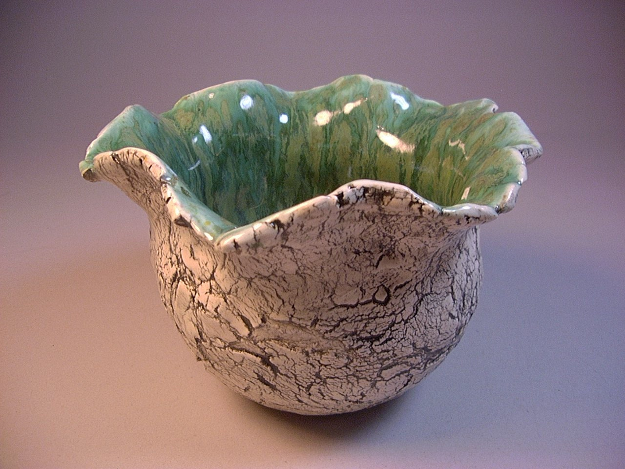 Ceramic art pottery, Pinch pot, Planter, Vase, Candy Bowl, Pencil holder in Black, White and Green, by Dana Morton