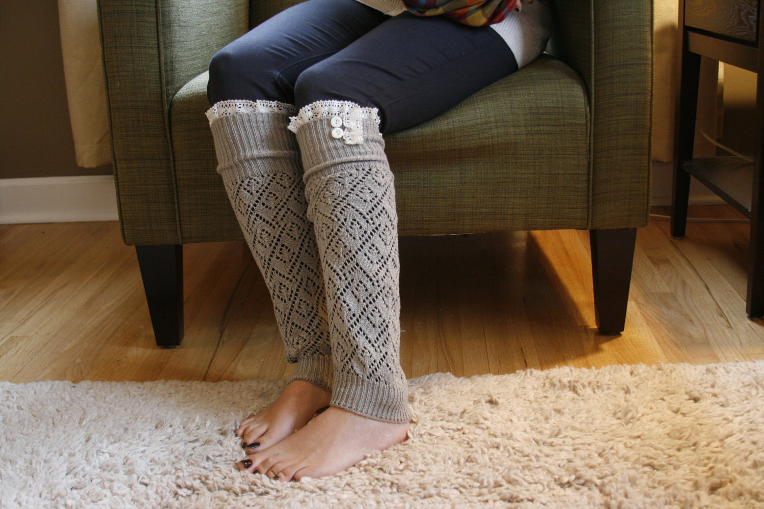 The Lacey Lou-Light Grey: Open-work Legwarmers with Ivory knit Lace trim & buttons - Leg warmers (item no. 3-13)