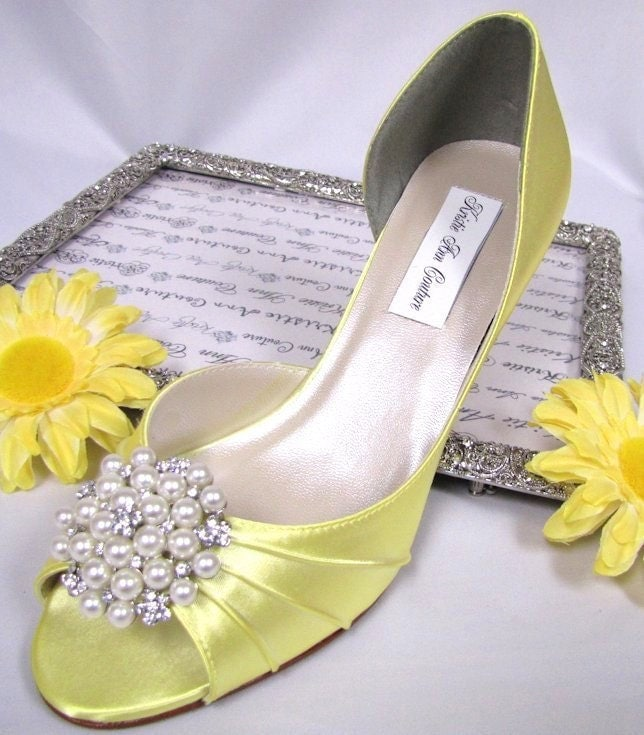 Custom Dye Pearl Brooch Couture Bridal Shoes By KristieAnnCouture
