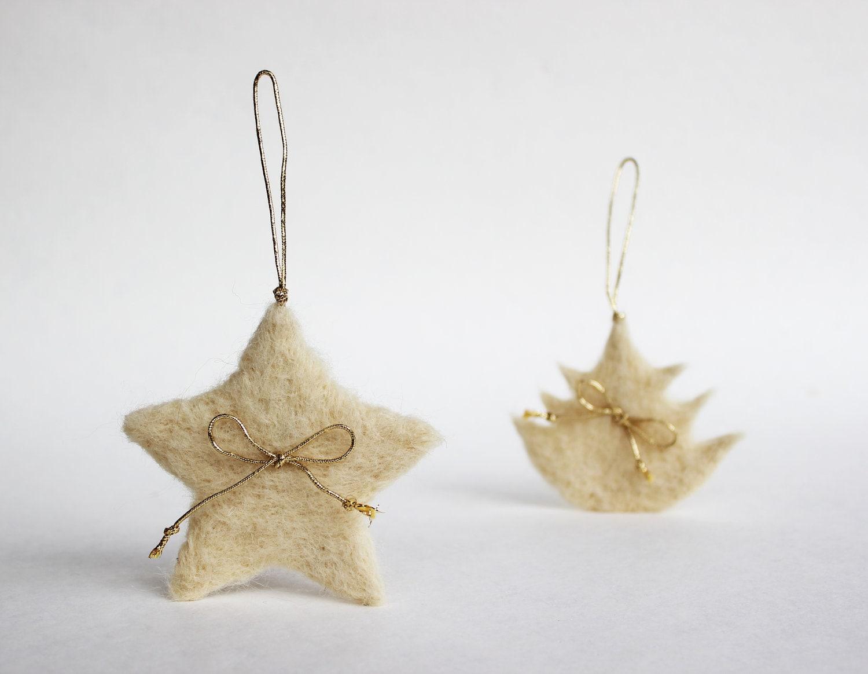 White Christmas Set - Little Star, Snowflake, Christmas Tree, Heart and Gift Box - Needle Felted - Ornaments for Christmas tree - FeltArtByMariana