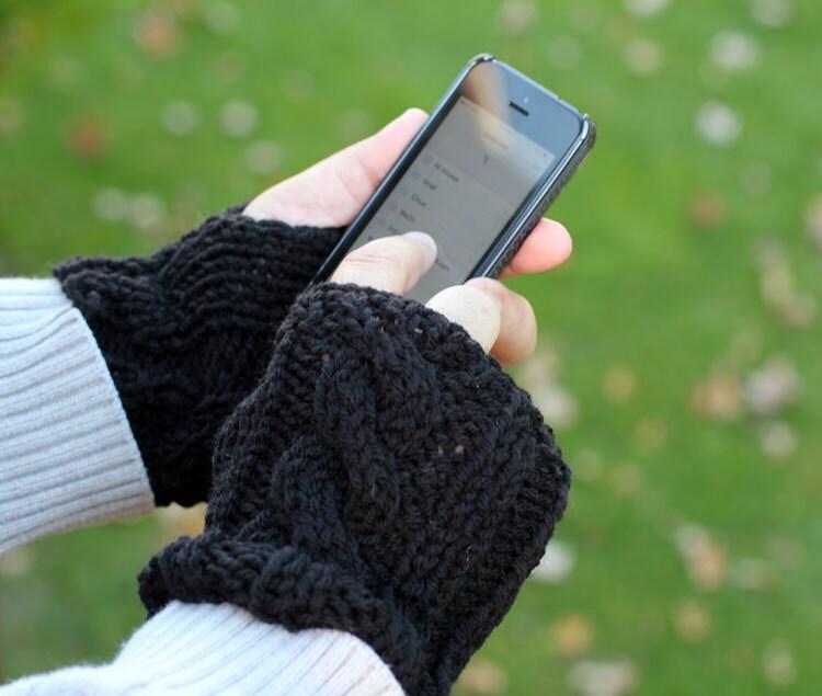 Chunky Knitted Mittens, Fingerless Black Gloves - OksanaPalma