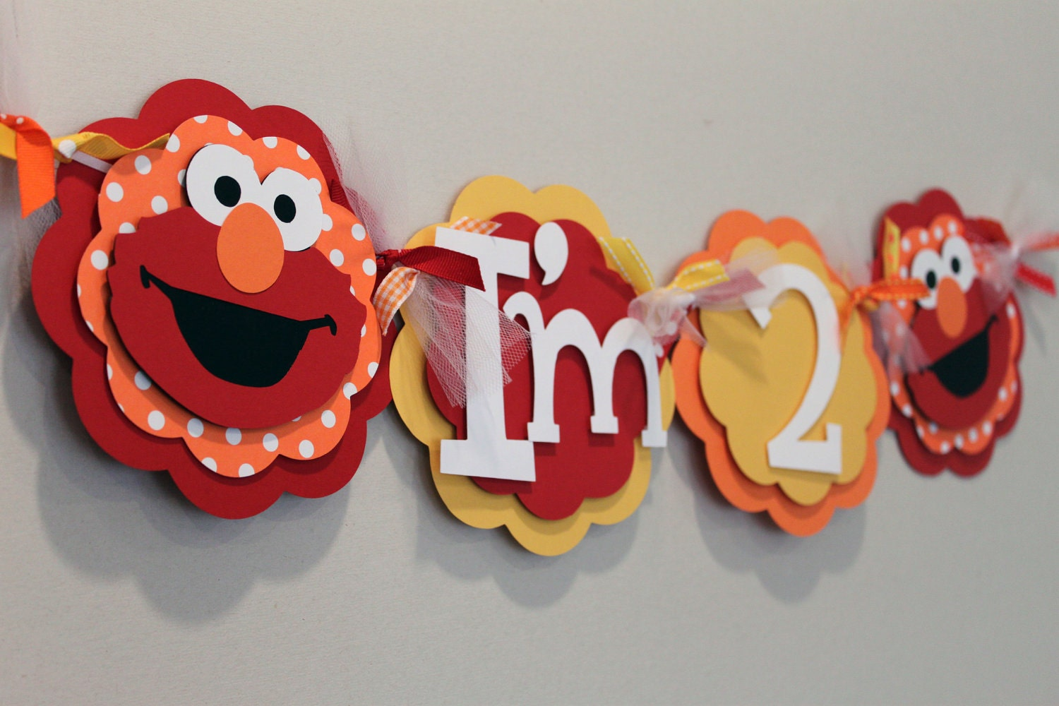 Elmo Red Yellow And Orange High Chair Banner By Paisleygreer