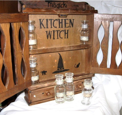 A vintage kitchen witchs apothecary witch herb by alurasstudio for Apothecary kitchen cabinets