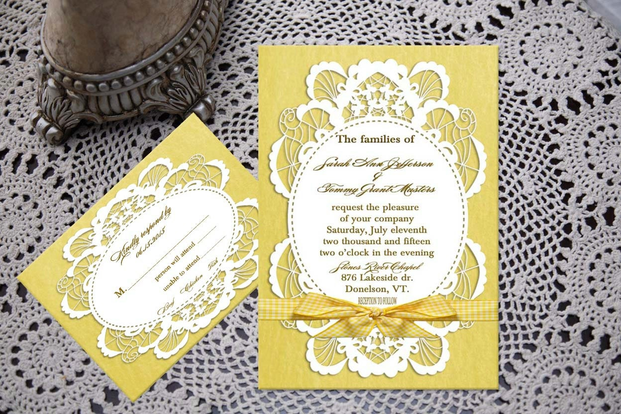 Wedding invitation, yellow invitation, lace invitation, affordable, Eco-friendly.  Listing is for sample