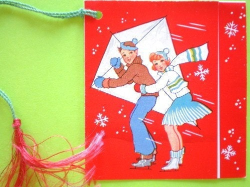 1920s FLYING A KITE In The SNOW - Bridge Tally / Score Card - Vintage / Antique