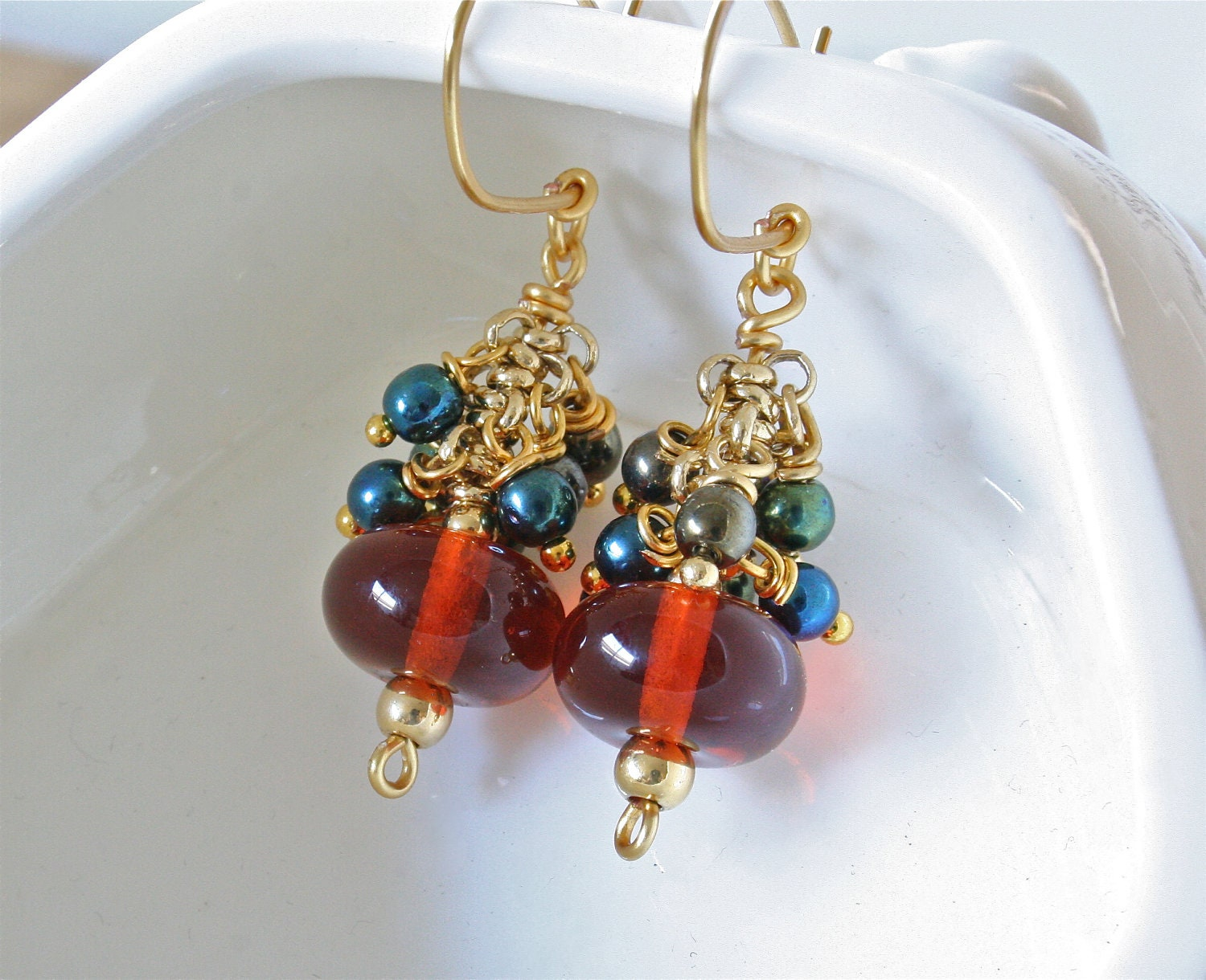 Amber Earrings on Amber Earrings  Amber Glass  Cluster Earrings  Golden Honey  Fall