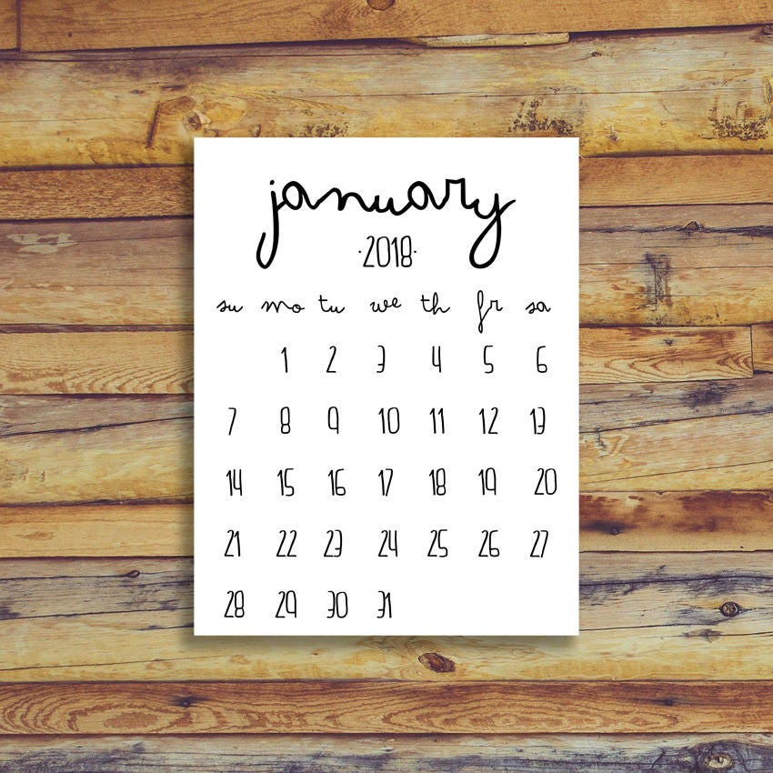 January 2018 Printable Calendar Black And White Instant