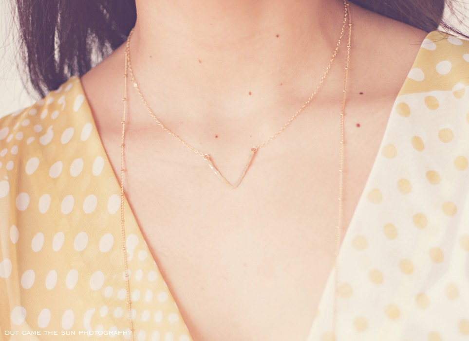 14k Gold Filled V Necklace - Hammered - Hand Forged
