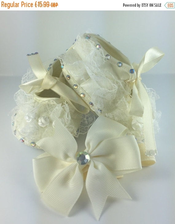 ON SALE Cream Satin Baby Embellished Lace Flower shoes (with matching headband) Christening Baptism Wedding Special Occasion Pageant