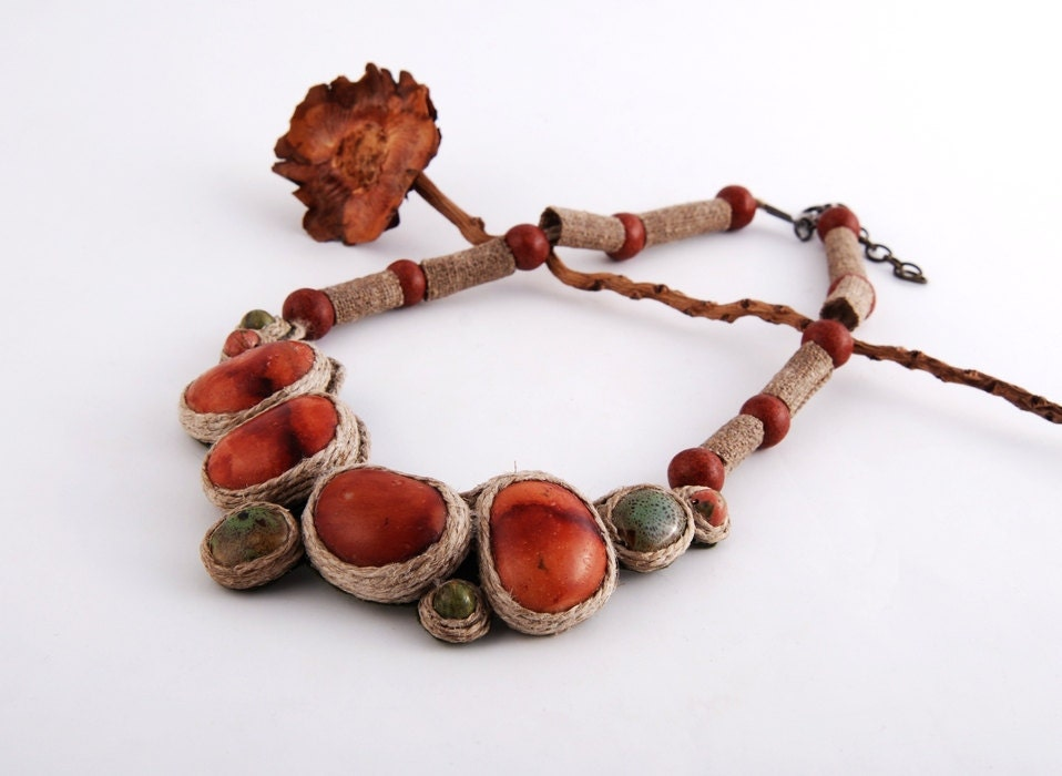 Necklace - -FREE SHIPPING - - earth tones, eco style - MegiMikos