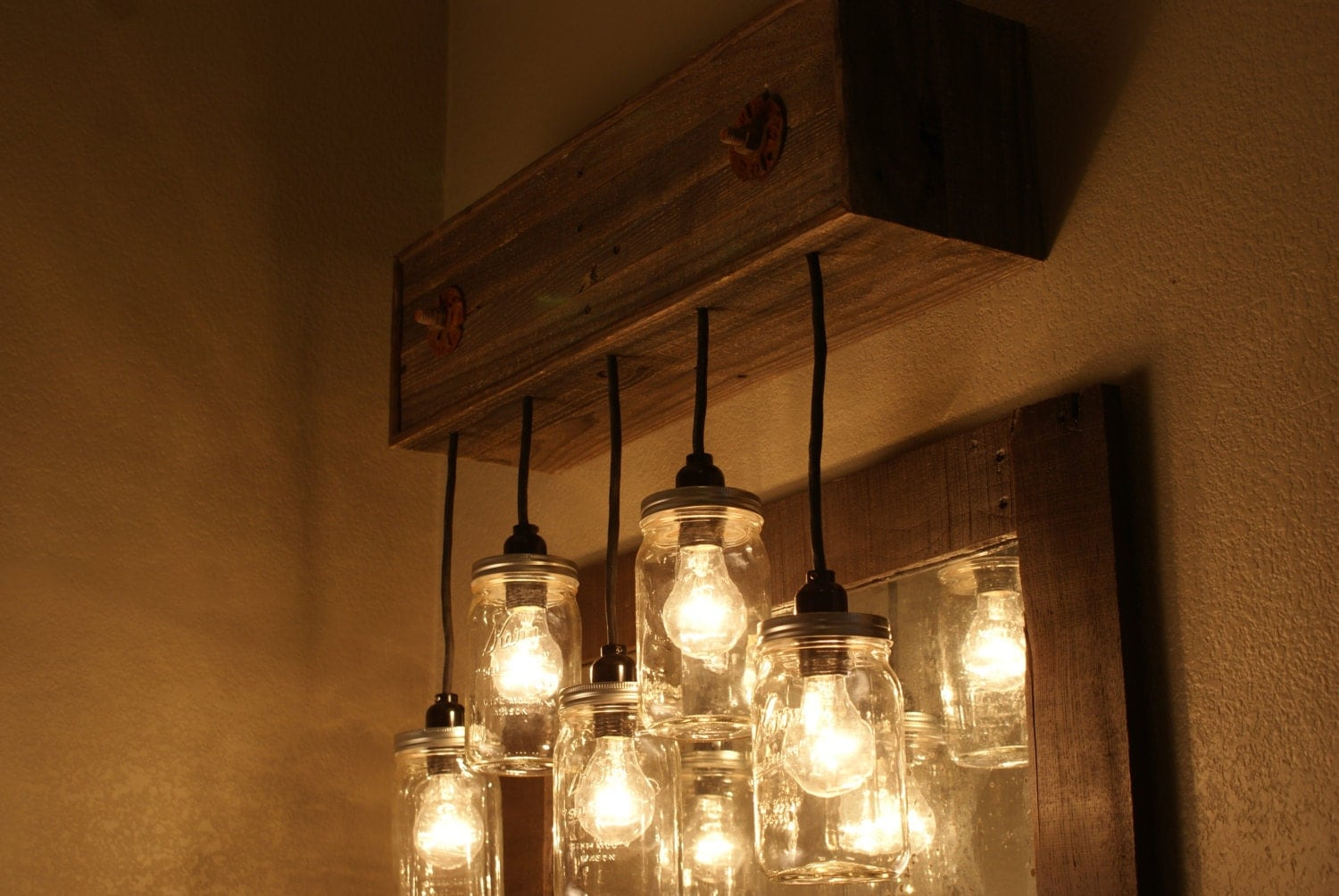 Mason Jar Chandelier Wall Mount - Mason Jar lighting - Upcycled Wood - Mason jar pendant fixture - Bornagainwoodworks