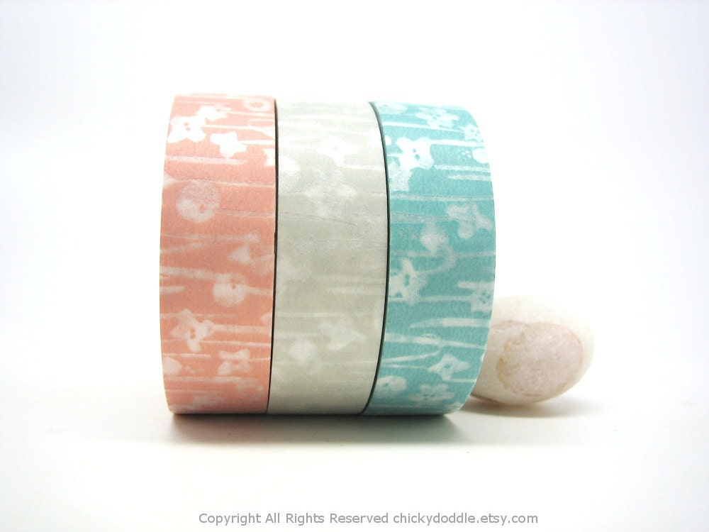 Pink, Linen, Aqua Garden Japanese Washi Tapes Set - chickydoddle