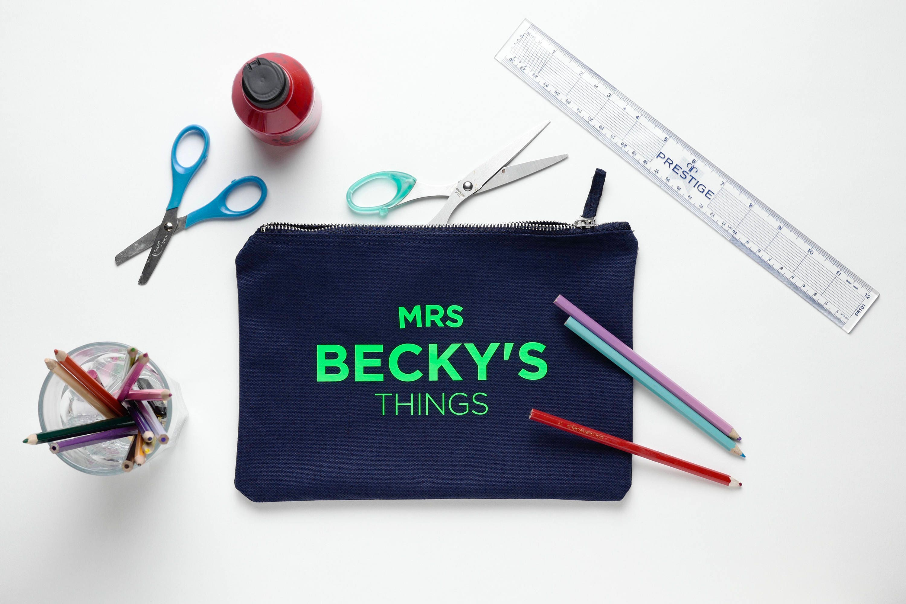 Navy Cotton Teachers Bag  Makeup Bag  mini clutch personalised with your Teachers name