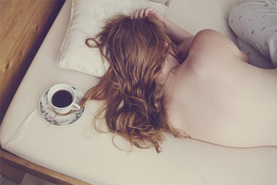 On Your Side - approx 30x20cm fine art glossy print - solitude, morning, coffee, tea, alone, bed, redhead, sleep, fpoe