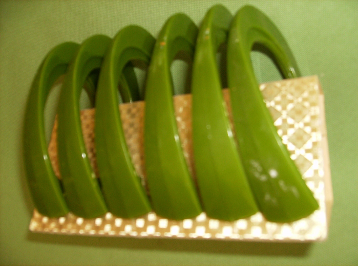 Unusual oval shaped green vintage shower by SignificantStuff