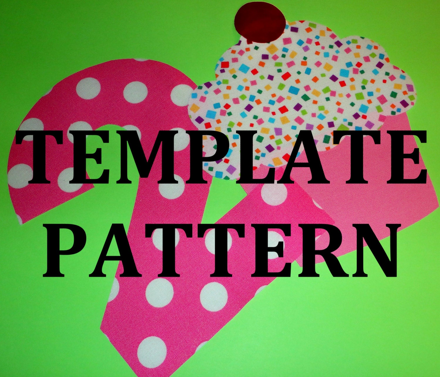 Cupcake Applique Pattern, PDF Template, Applique Designs