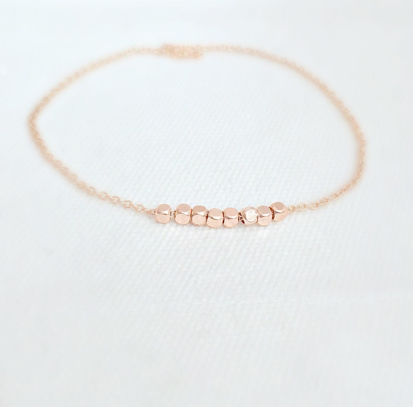 Rose Gold Bracelet Dainty Rose Gold Bracelet Rose Gold JewelryRose Gold BeadStacking BraceletBridesmaid GiftsMom GiftsGifts for Girls