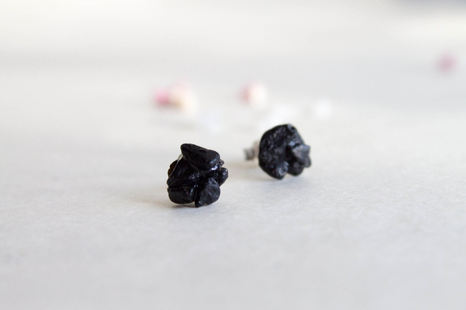 Black Stud earrings Black Tourmaline Studs -  Sterling silver studs - CraftsGardenOfZen