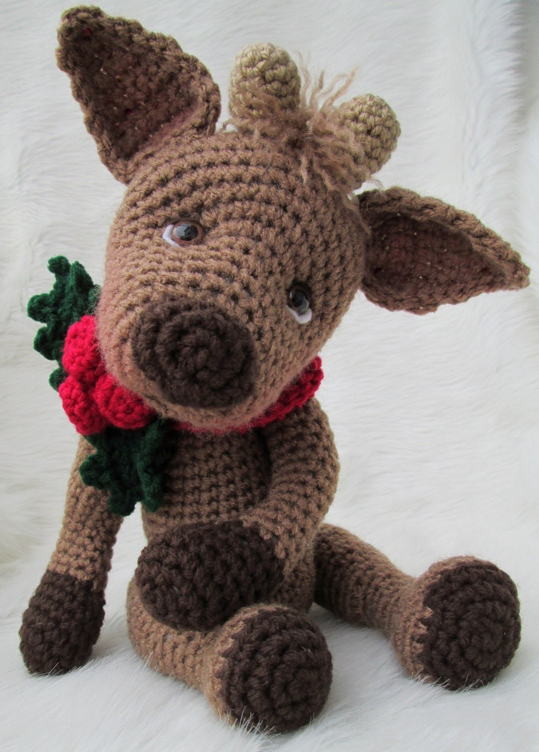 Crochet Pattern Cute Reindeer by Teri Crews Wool and Whims Instant Download PDF Format - WoolandWhims