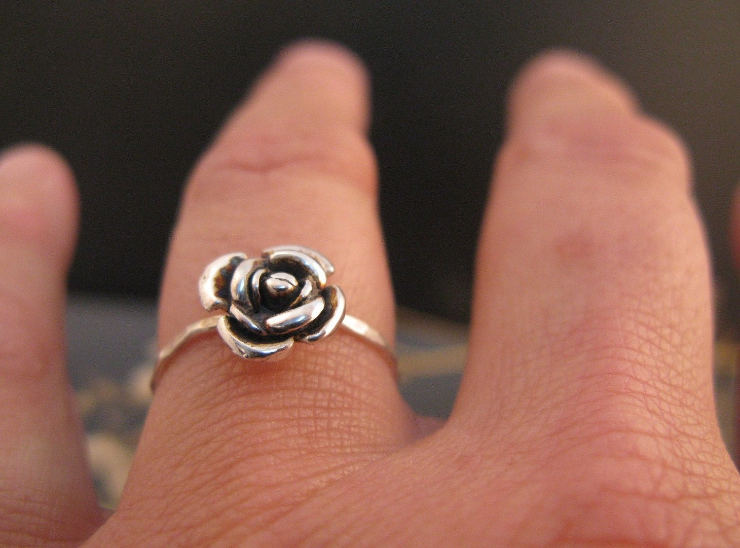 Rose engagement ring, Black rose ring in sterling silver, stackable ring,